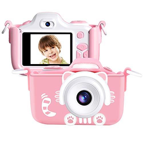 Kriogor Cámara de Fotos para Niños, Juguete Digital Cámara Zoom Selfie Flash 2 Pulgadas 16MP 1080P HD Niño Niña Cumpleaños (Tarjeta Micro SD Incluida)