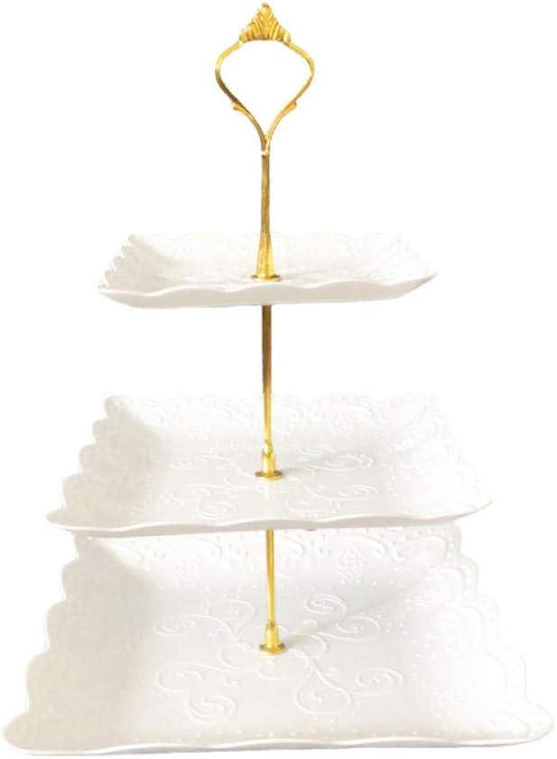 BBZZFFCC Wedding Banquet Superlatite Three-Tier 4 years warranty Plate Dried Plat Fruit