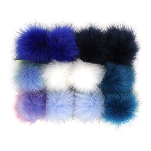 DIY 6pcs Knitting Hats Accessories Faux Fake Fur Pom Pom Ball with Press Button 4.3 Inches Purple