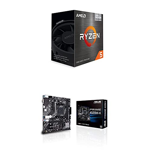AMD Ryzen 5 5600G 6-Core 12-Thread Desktop Processor with Radeon Graphics and ASUS Prime A520M-K AMD AM4 (3rd Gen Ryzen) Micro-ATX Motherboard