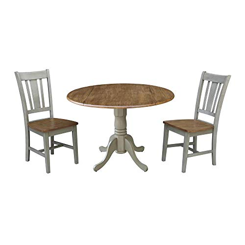 International Concepts 42-inch Dual Drop Leaf Table with 2 San Remo Side Chairs - Set of 3 Pieces
