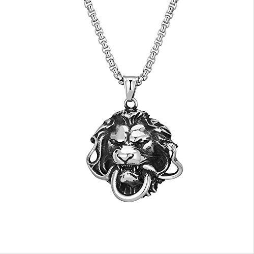 JIUJINSet di moda semplice re leone animale creativo Collana da uomo re leone