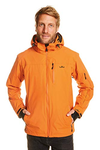 Jeff Green Herren Atmungsaktive wasserdichte Winter Ski Snowboard Jacke Bergen 12,000mm Wassersäule und Abnehmbare Kapuze, Größe - Herren:3XL, Farbe:Harvest Pumpkin