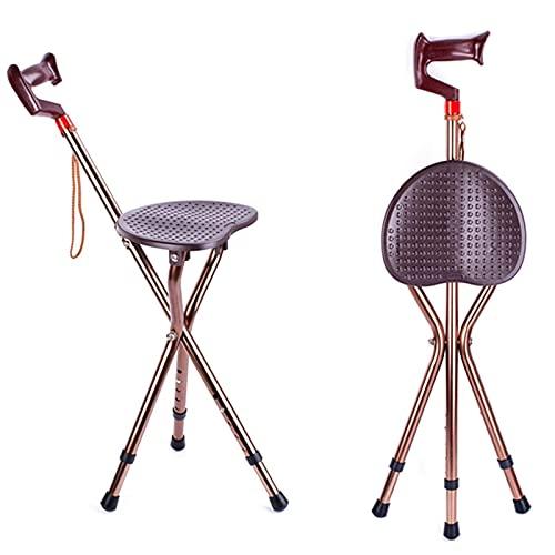 Asiento de bastón Plegable Combo 220 Libras de Capacidad Práctico Taburete de bastón portátil Asiento de Silla Plegable con muleta de 3 Patas Bastón de Aluminio de Alta r