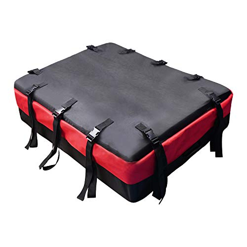 Rooftop Cargo Carrier Bag,100% Waterproof Zipper Rain Flap Luggage Car Top Carrier Soft-Shell Carriers,Universal Car SUV Camping Bag (Black & Red)