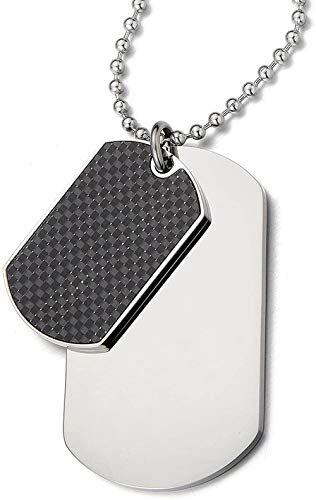 NC188 Steel Two-Pieces Mens Dog Tag Pendant Necklace with Carbon Fiber and 23.6 inches Steel Ball Chain