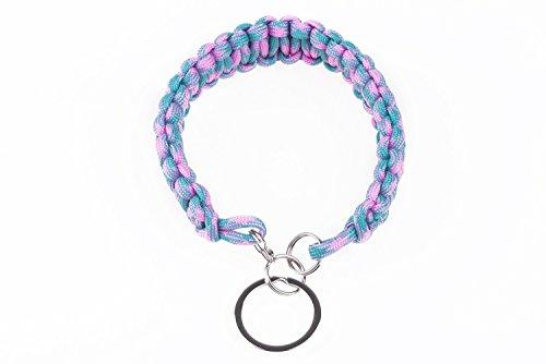 Besonderes und praktisches Paracord Outdoor und Survival Armband, Halsband oder Schlüsselanhänger in Neon Türkis und Pink, für Wanderungen, Outdoor, Camping und vieles mehr!