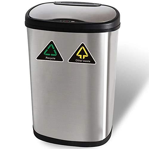 *Automatischer Sensor Mülleimer – 13Gallon / 50L Recycler Kitchen Bin Edelstahl – Automatischer Berührungsloser Infrarot – Bewegungsmelder Mülleimer Küche für Das Home Office Badezimmer*