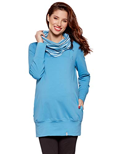 Be! Mama - 2in1 Umstandspullover, Sweatshirt, Still-Pulli, hochwertige Baumwolle, Modell: Nella (S, Niagara blau)