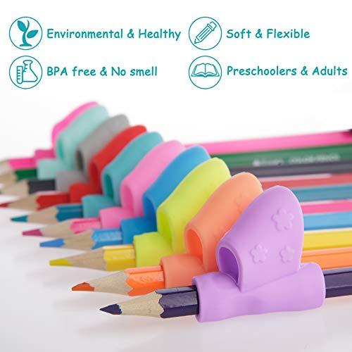 Booshow Pencil Grips - 10 Pack Kids Ergonomic Training Pencil Grippers Preschoolers Handwriting Aid Grip Set Posture Correction Tool(10 Colors)