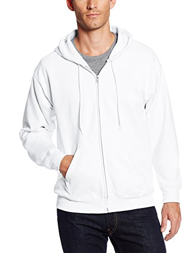Hanes Men's Full-Zip Eco-Smart Fleece Hoodie, White, Small