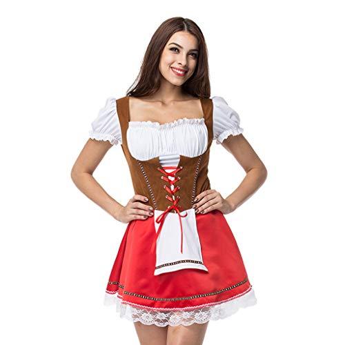 Lomelomme Damen Maid Kostüm Miederkleider Kurzärmliges Kleid und Dirndlschürzen Putzfrau Trachtenmieder Bierfest Unterkleider Halloween Cosplay Dienstmädchen Dirndl Maid (2Red, XXXXXL)