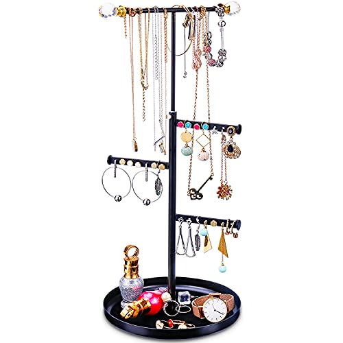 Keebofly Jewelry Tree Stand Organizer - Metal Necklace Organizer Display with Adjustable Height for Necklaces Bracelet Earrings and Ring Black