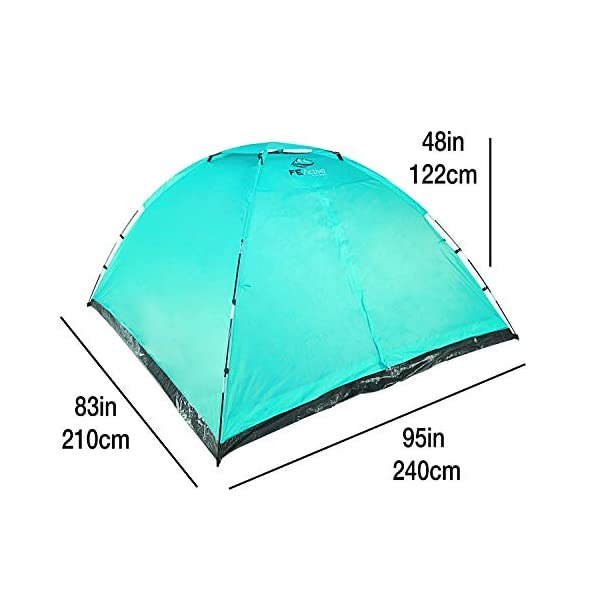 FE Active 4 Person Tent - Compact 3-4 Man Lightweight Summer Tent, Water Resistant With Small Fly, Quick Set up, Pop Up Tent for Adults & Kids Beach, Backpacking, Travel | Designed in California, USA 1