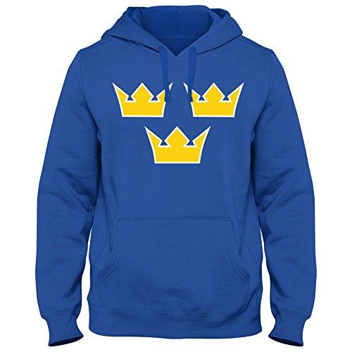 Shirtastic Hoody Hoodie Kapuzenpulli Eishockey Icehockey Sverige Schweden TRE Kronor WM, Farbe:blau, Größe:XXL