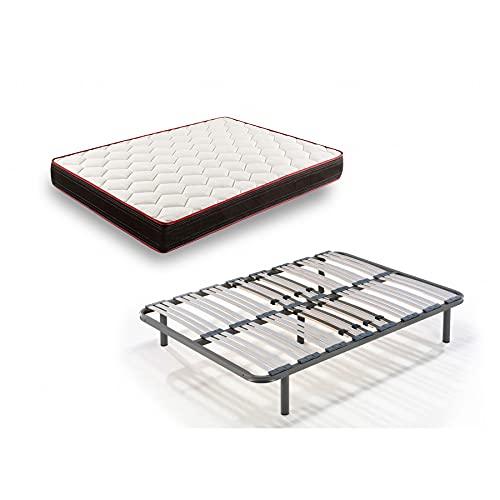 HOGAR24 CT94-Colchón Viscoelástico + Somier Multiláminas con Patas, Medida 135x180, Extra Confort, Reversible...