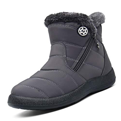 Botas de Nieve Mujer Botas de Invierno Calentar Forro de Piel Botines Que Caminan Ligero Antideslizante Zapatillas Al Aire Libre Zapatos