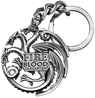 The Noble Collection Game of Thrones Targaryen Dragon Die-Cast Keychain (Silver Finish)