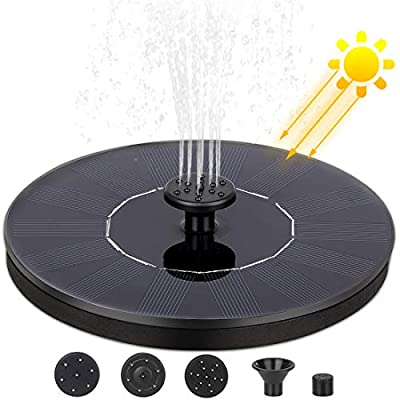 Nonley Solar Bird Bath Fountain Pump, Solar Fountain with 4 Nozzle, 1.4 W Free Standing Floating Solar Powered Water Fountain Pump for Bird Bath, Pond, Pool, Outdoor, Garden Decoration