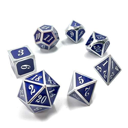 Sunnay 7 Stück Metall Würfel DND Polyhedral Solid Metall D&D Würfel Nickel Set mit Zahlen,Einsteigerset A11 Stil