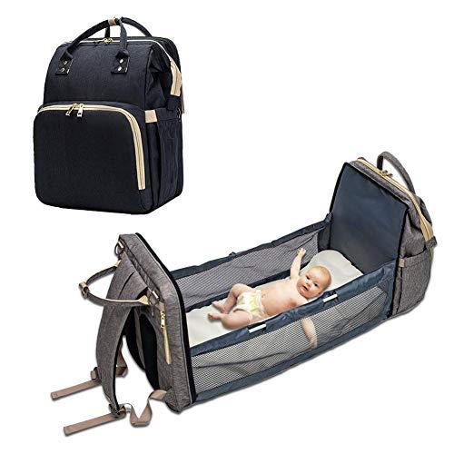 Bolsa de pañales para bebé, mochila convertible, ligera, bolsa de pañales con varios bolsillos, portátil, bolsa de viaje, carrycot, cambiador de pañales