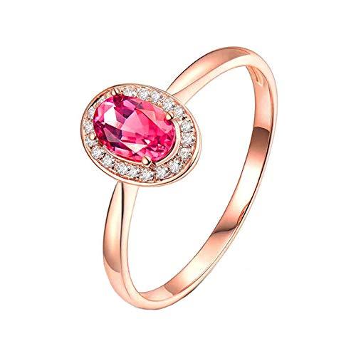 AnazoZ Anillo Turmalina Mujer,Anillo Oro Rosa 18 Kilates Oro Rosa y Rosa Oval Turmalina Rosa 0.5ct Diamante 0.06ct Talla 15