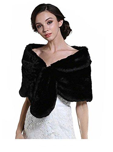 Aukmla Wedding Fur Wraps und Tücher, Pelz Stola und Schal für Frauen und Mädchen. (Schwarz)