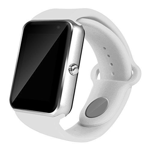 AIYIBEN U7 Bluetooth Touch pantalla Bluetooth 3.0 Smart watch muñeca reloj teléfono reloj Para iPhone Samsung Sony LG HTC y mucho más (Silver+White)