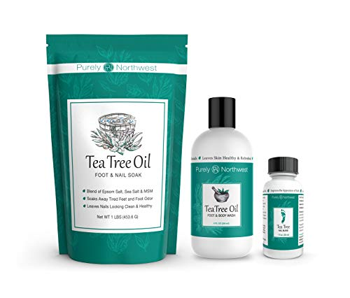 Purely Northwest Foot and Toenail Kit with Tea Tree Oil Foot Soak, Antifungal Tea Tree Oil Foot & Body Wash...