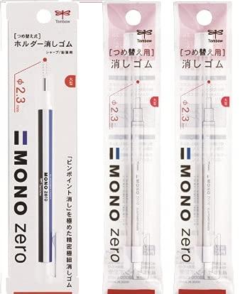 Tombow Mono Zero - Gomma di precisione con ricarica Mono Zero + 2x Refill bianco