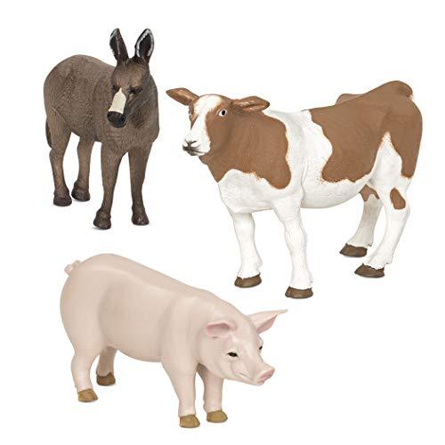 Terra by Battat – Farm Animals (Donkey  Cow  Pig) - Farm Animal Toys with Donkey Toy for Kids 3+ Pc  Multi