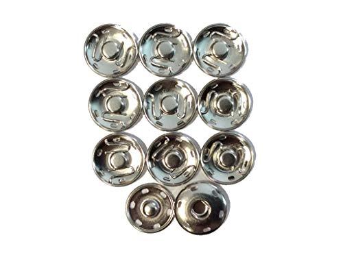 Großhandel für Schneiderbedarf 10 Druckknöpfe zum Annähen Metall 21 mm Silber