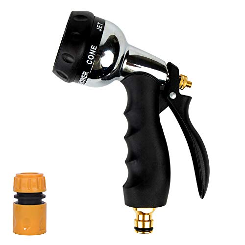 Garden Hose Spray Gun with 7 Patterns,Heavy Duty Metal Garden Hose Nozzle Zinc Alloy High Pressure Water Gun Bigger Nozzle Area Upgraded for Plant Watering, Car and Pet Washing, Sidewalk Cleaning