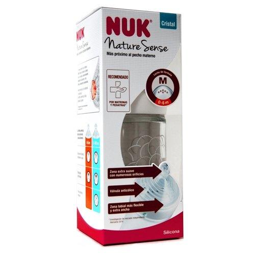 Nuk Nature Sense - Biberón Cristal 0-6 m, 240 ml