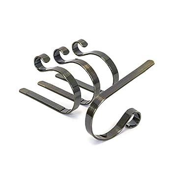 Elf Logic - 4 Pack Christmas Stocking Holder - Elegant Adjustable Metal Stocking Hook - Low Profile Christmas Fireplace Hooks/Mantle Clips  4 Pack