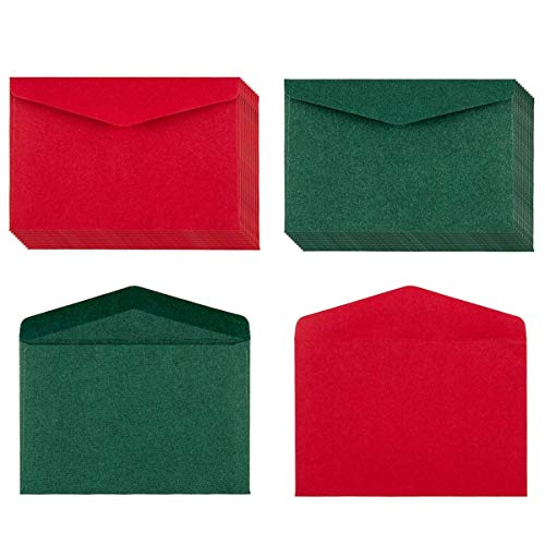 """120 Pack Kraft Mini Envelopes Christmas Red and Green Envelopes Self-Adhesive Tiny Pockets for Holiday Small Gift Cards Invitations Business Notes(4.13""""×2.76"""") (Green and Red)"""