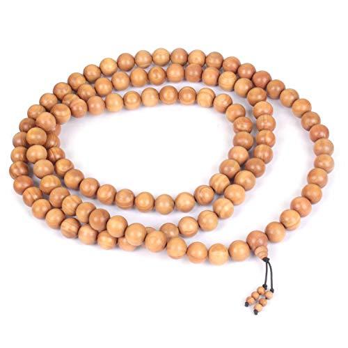 Jingle Jewels Guirnalda de sándalo natural ajustable hecha a mano | oración de meditación Mala| Guirnalda para mano y cuello