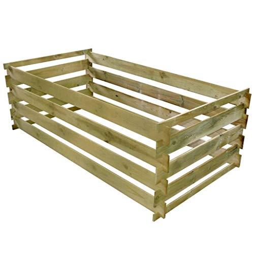 vidaXL Bois de Pin Imprégné Bac de Compostage à Lattes Composteur de Jardin