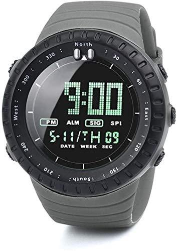 Relojes deportivos para hombre, reloj deportivo militar, reloj digital de cuenta regresiva, impermeable, LED, color negro, gris