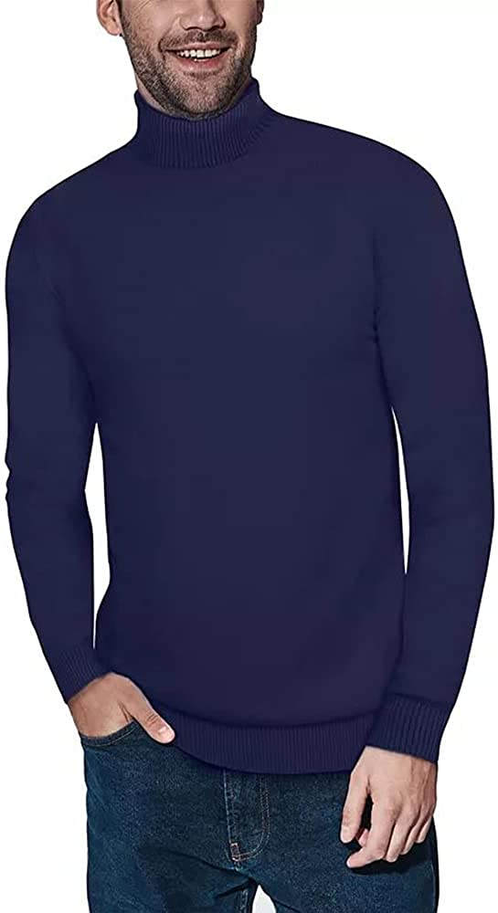 Genayge Men's Casual Slim Fit Turtleneck Soft Knitted Long Sleeve Pullover Sweaters Thermal