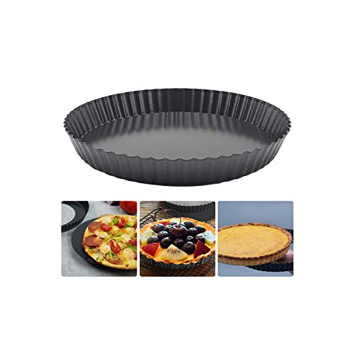 9'' Tart Pan Nonstick Quiche Pan with Removable Loose Bottom, Carbon Steel Tart Pie Pan Round Pizza Pan Quiche Tart Pan for Oven Baking