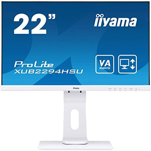 iiyama ProLite XUB2294HSU-W1 54,6cm (21,5Zolll) VA LED-Monitor Full-HD (VGA, HDMI, DisplayPort, USB2.0) Ultra-Slim-Line, Höhenverstellung, Pivot, weiß