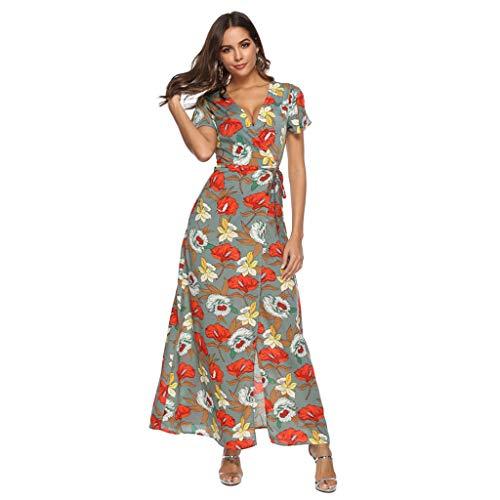 FRAUIT zomerjurk dames boho bloemenprint maxi-jurk strandjurk sexy V-hals lange jurken avondjurk lang met gleuf