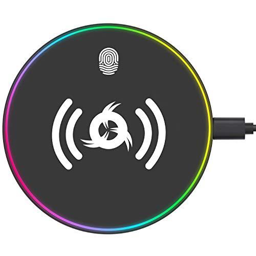 KLIM™ UFO - Cargador inalámbrico con Adaptador para Carga rápida 10 W + Compatible con iPhone Samsung Huawei LG y Más + Base de Carga para móvil QI + Borde RGB + 5 años de garantía + Nuevo 2020