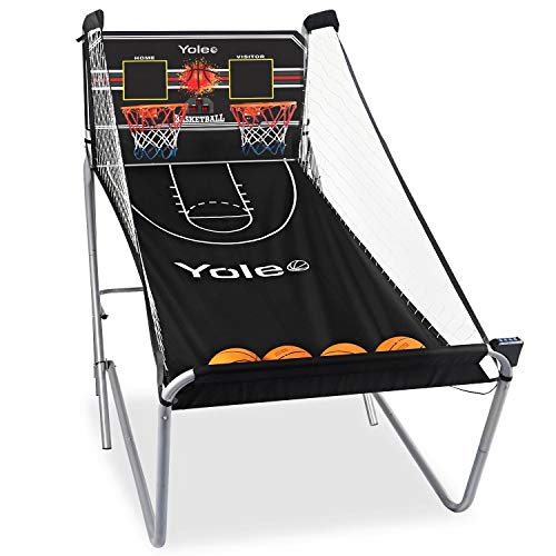 Yoleo Indoor Basketball Arcade Game, Official Dual Shot Sport – 10 Games and 6 Audio Options – Durable Construction – Easy Fold Up