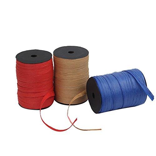 Tenn Well Bast-Papierschnur, Bast-Papierschnur, zum Verpacken von Geschenken, Basteln, Hochzeitsstrauß-Verpackungen und Häkeln (Handwerk, blau, rot)