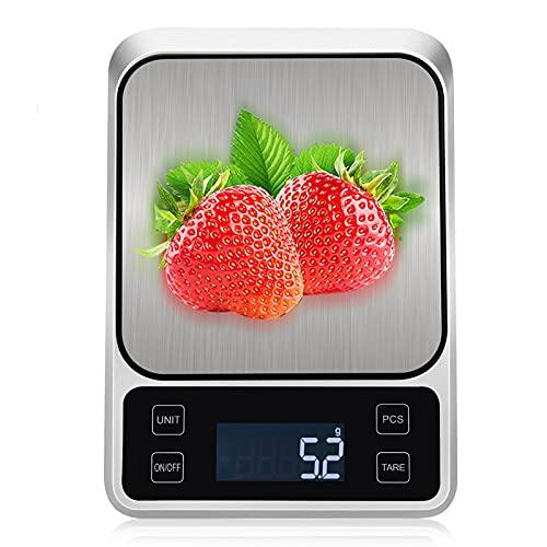 Smart Bilancia da Cucina, TOUSEEDA 5KG/11 lbs Bilancia Elettronica, Bilancia Cucina Digitale Professionale ad Alta Precisione da 0.1g, LCD HD Display USB Ricaricabile per Casa, Cucina, Ufficio