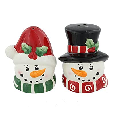 Mr & Mrs Snowman Ceramic Salt & Pepper Pots Cruets - Christmas Set by Widdop & Co.