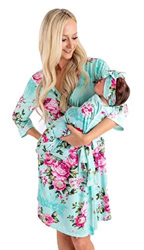 Maternity Robe and Matching Baby Set (Aqua Pink, XLarge)