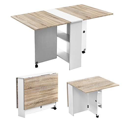 Compact 130cm Folding Dining Table with 2-Tier Storage Shelf & Wheels, Extendable Drop Leaf Table for Small Spaces, Multifunction Foldable Table, Space Saving Computer Desk Study Table for Office